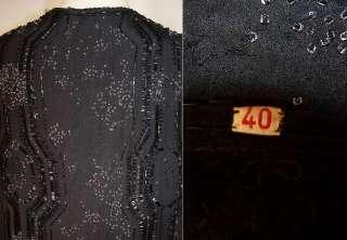 Vintage 1920s Art Deco Black Silk Beaded Flapper Dress Evening Gown