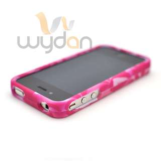 New Hot Pink Flower iPhone 4G 4S Case Hard Snap On Cover w/ Screen