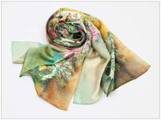 100% Luxurious Charmeuse Silk Oil Painting Long Scarf Shawl