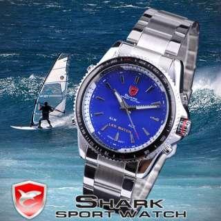 SHARK Men Quartz LED Steel Big Case Sports Army Wrist Watch + Box