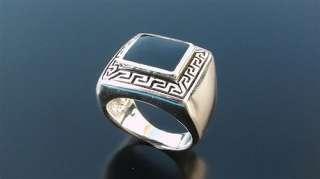 Men Silver 925 Sterling SIGNET Black Onyx Ring