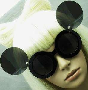 Round Retro Womens Pop Star Diva Flip Up Mouse Ear Sunglasses Glasses