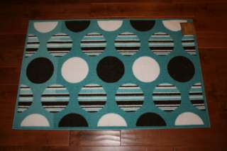Washable Mat Rugs Blue Brown White Circles Pattern Cute Stripes