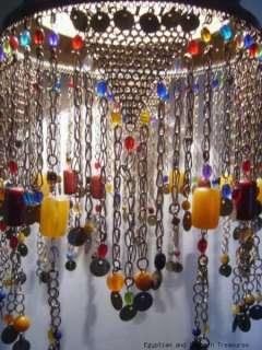Moroccan Handmade Brass Lighting Jeweled Hanging Lamp