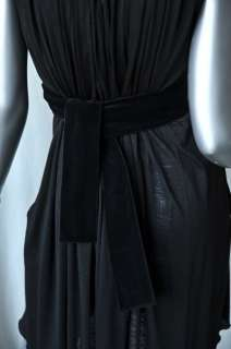 CHLOE Black Pleated Jersey Dress+Velvet Sash Belt LBD S