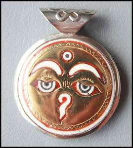 SN331 TIBETAN COPPER INLAID YAK BONE AMULET BUDDHA EYE PENDANT