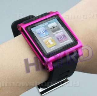 Black Multi Touch Watch Band for iPod Nano 6 6th Aluminum Cover Case