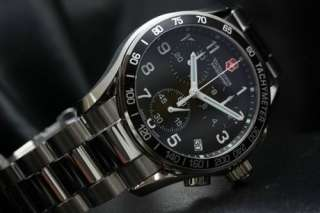 Victorinox Swiss Army Mens Watch Chrono Steel Black dial New V.241122