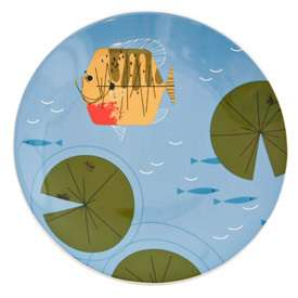 Charley Harper Fish Dinner Plate Ford Times Charles Bass Ocean River