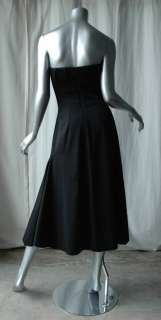 GIVENCHY Pleated Strapless Black Long Panel Dress 4/38