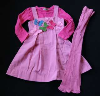 Lola et Moi Butterfly Dress Pink Shirt Tight 2 3 2T 3T
