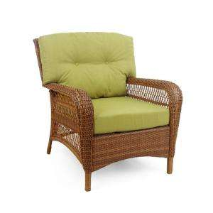 Brown All Weather Wicker Patio Lounge Chair with Green Cushions