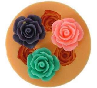 9002 Soft Silicone Handmade Soap Candle Mold Mould   3 cavity roses