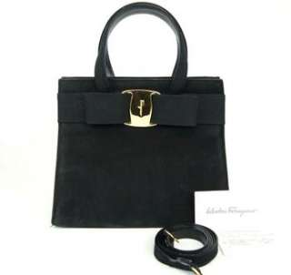 SALVATORE FERRAGAMO HAND SHOULDER BAG VARA BLACK SUEDE LEATHER + STRAP