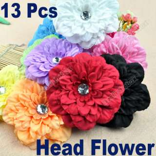 beautiful13pcs Baby Flower Hair Clip Bow GIRL Lady Crystal Peony Head