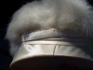 Hat Fur White Winter Hats Antique Bling Satin Accessories Womens Hats