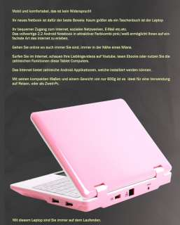 Mini Laptop Notebook ANDROID 2.2 Computer Pc pink/weiss @ NEU