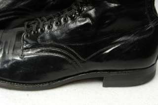 50s NOS Kidskin Kangaroo Cap Toe Low Top Boots Shoes Black Leather 9