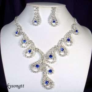 Swarovski Royal Blue Crystal Pendant Necklace SetS1623N