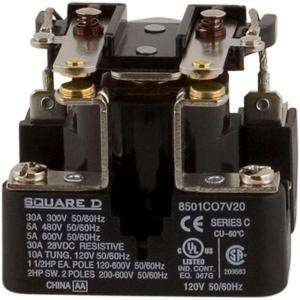 Square D by Schneider Electric 30 Amp Power Relay Coil 8501CO7V20 at