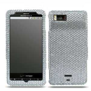 Silver Crystal Bling Case Phone Cover Motorola Droid X2