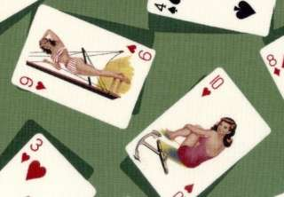 PILLOW 50s ATOMIC PIN UP GIRLS PLAYING CARDS FABRIC grn