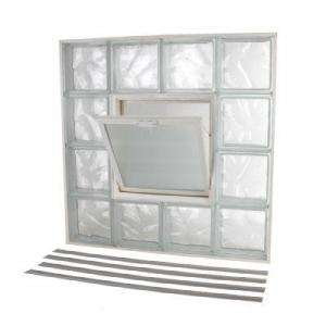 NailUp2 Glass Block Window, 32 in. x 32 in. Wave Pattern with Vent