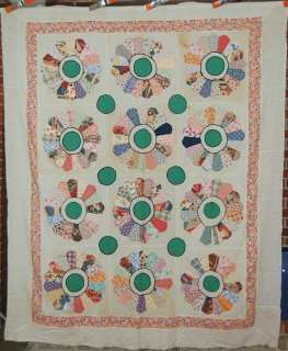 Vintage 30s Dresden Plate Antique Quilt Top w/ Hand Embroidery & Nice
