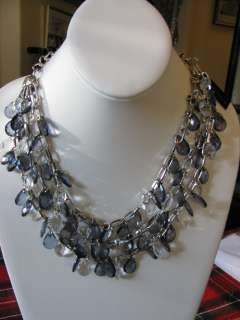 Cookie Lee Indigo Ice Necklace 3 Stands New