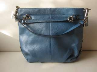 NWT Coach 17165 Ocean Blue Leather Brooke Silver Handbag