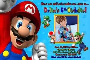 SUPER MARIO BROS CUSTOM PHOTO BIRTHDAY INVITATIONS