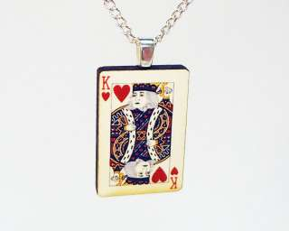 King of hearts playing card pendant silver necklace poker