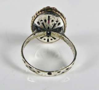 Estate Rose Gold & 925 Silver .49ctw Ruby & White Sapphire Ring, Size