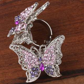 * Rhinestone Butterfly Fashion Cocktail Ring #8 Adjustable
