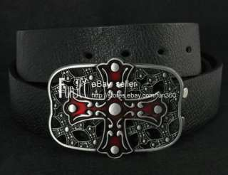 Celtic Cross Knot Shield Irish Buckle True Leather Belt