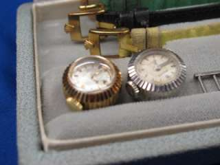 Two 1950s Rolex 18k Ladys Slide Charm Chameleon Watch Rose & White