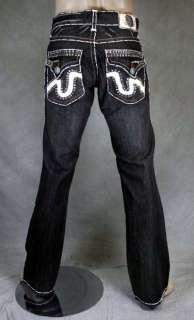 Beach Jeans Mens LAGUNA Black Wash BOOTCUT w/ 2G Crystals **SAMPLE