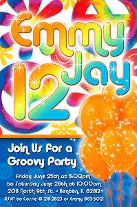 Personalized Childrens Tie Dye Birthday Invitations