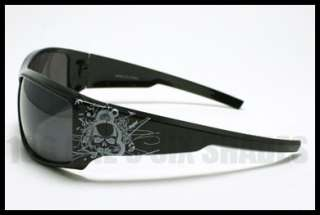 TATTOO Design Skull Sunglasses Biker Skater BROWN