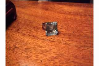 LARGE AQUAMARINE RING SQUARE EMERALD CUT 15ct STAMPED 14K WEIGHS 8.6g