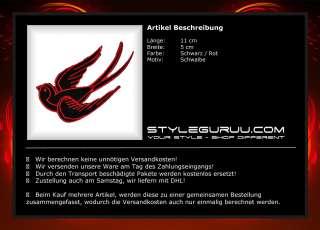 Patch Aufnäher Aufbügler Rockabilly Biker Rocker Schwalbe Vogel Rot