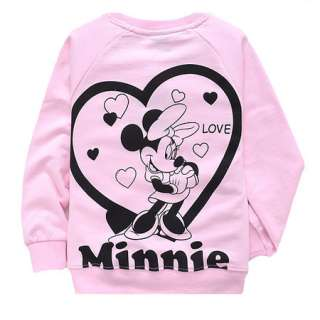 New Pink Girls Minnie Mouse Long Sleeve T Shirt 2 8 Years D6633