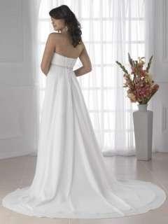 White or ivory chiffon beach Wedding Dress Evening Dress custom size