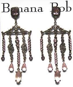 BANANA BOB Designer Vintage CHANDELIER PINK Crystal Earrings