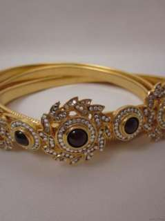 Vintage Cabochon & Swarovski Crystal Gold Dual Band Stretch Belt S