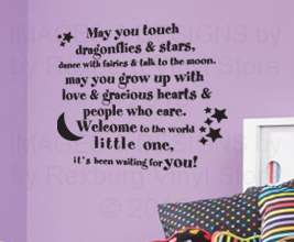 Wall Sticker Decal Art Quote Inspirational Touch the Moon Baby Kid B19