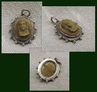 Antique Victorian Molded Agate Glass Cameo Mini Charm Portrait