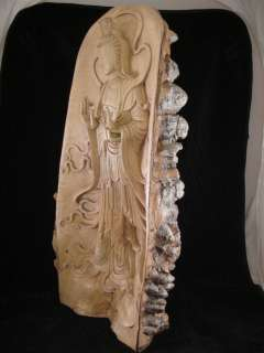 19 Hand Carved Crocodile Wood Quan Yin Kwan Yin Statue