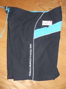 NWT Nautica Competition Black Swim Board Short L 38 $45