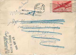 1943 World War II Cover To 306th Bomb Group / 368th Bomb Squadron